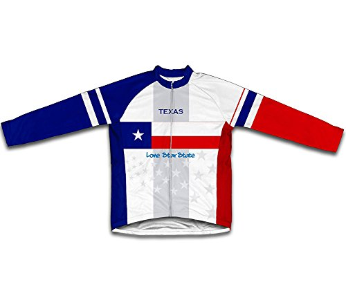 ScudoPro Texas Flag Long Sleeve Cycling Jersey for Men - Size M