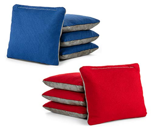 (Tailgating Pros Red Royal Blue Pro-Style Cornhole Bags Two-Sided Slick & Stick Resin-Filled Suede and Duck Canvas Set of 8)