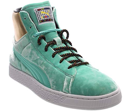 (Puma Basket Mid X Dee/Ricky Mens Green Textile High Top Sneakers Shoes 9.5)