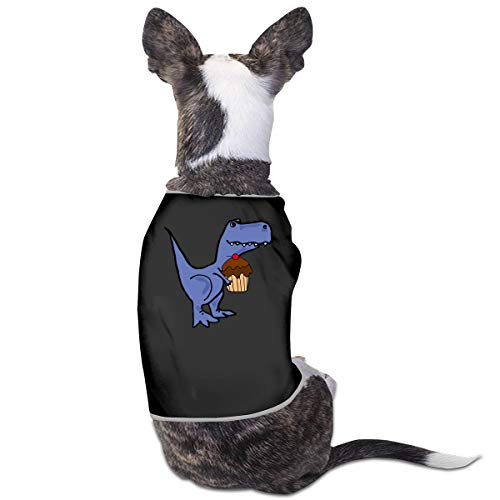 COLLJL8 T-rex Dinosaur Eating Cupcake Pets Clothing Costume Puppy Dog Clothes Vest Tee T-Shirt