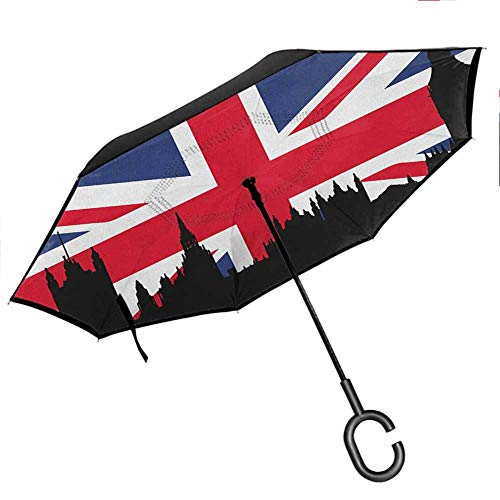 Anyangeight Union Jack Inverted Umbrella Houses of The Parliament Silhouette on UK Flag Historic Urban Skyline Double Layer Canopy 42.5