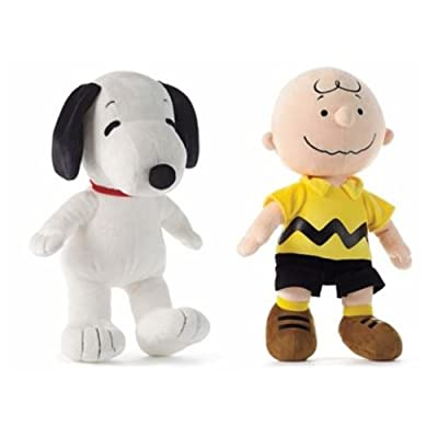 "Peanuts Snoopy and Chuck Plush Set Featuring 13"" Snoopy and Charlie Brown Dolls: Toys & Games"