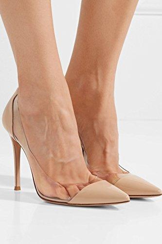 Bout Taille Edefs Fermé Chaussures Transparent Enfiler A Femmes Aiguille Beige Escarpins Pvc Talon SqPrwSzp