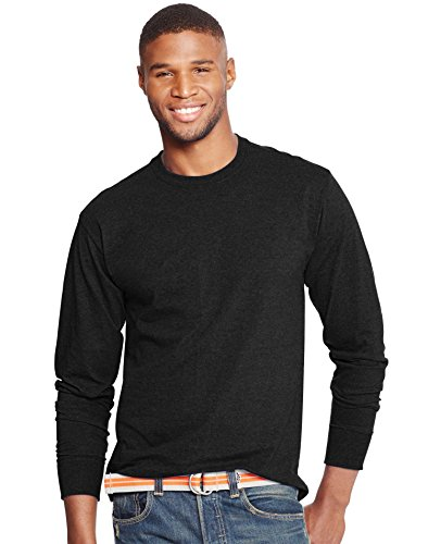 (Hanes X-Temp Mens Long-Sleeve T-Shirt O5716, M, Ebony)