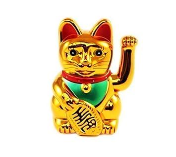 """Huang Fong 8"""" Gato de la Suerte Maneki Neko Saludando Gato de la Suerte Oro"""