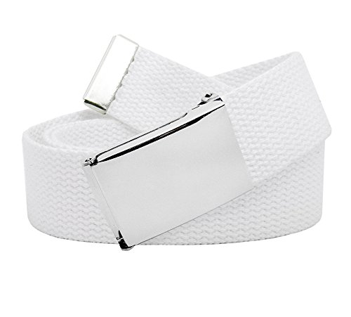 Men's Classic Silver Flip Top Military Belt Buckle with Canvas Web Belt Medium White
