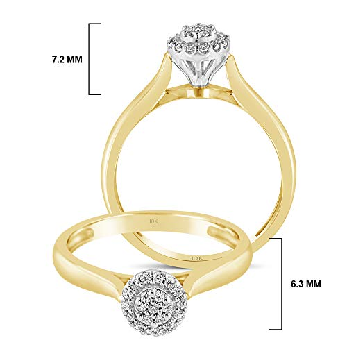 Brilliant Expressions 10K Yellow and White Gold 1/10 Cttw Conflict Free Diamond Round Halo Cluster Engagement Ring (I-J Color, I2-I3 Clarity), Size 8 by Brilliant Expressions (Image #4)