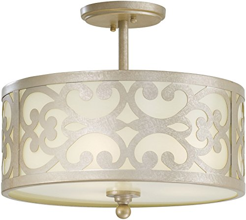 Minka Lavery Semi Flush Mount Ceiling Light 1498-252, Nanti Glass Lighting Fixture, 3 Light, 180 Watts, Silver