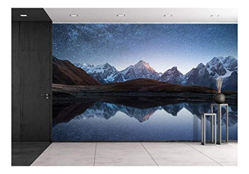 wall26 - Night Sky with Stars and The Milky Way Over a Mountain Lake. Collage of Two Frames. Art Processing Photos - Removable Wall Mural | Self-Adhesive Large Wallpaper - 66x96 inches
