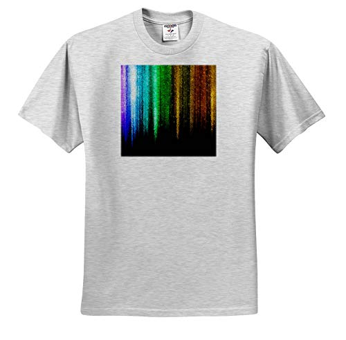 3dRose Lens Art by Florene - Photo Glass Art - Image of Multicolor Glass icicles Photo Art - Adult Birch-Gray-T-Shirt 4XL (ts_318330_24) ()