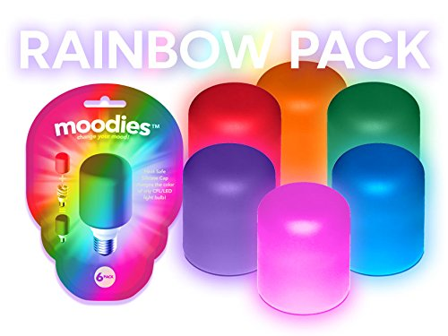 Moodies Rainbow 6 Pack of Colorful, Heat-safe Silicone Light Bulb Cover for Decorating