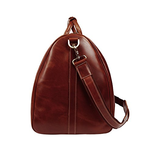 BAIGIO Men's luxury Leather Weekend Bag Travel Duffel Oversize Tote Duffle Luggage (Brown) by BAIGIO (Image #4)