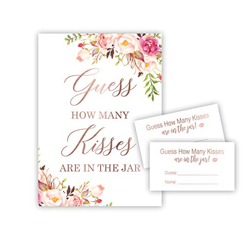 Blush Pink Guess How Many Kisses in the Jar Shower Game (48 Cards + 1 Sign) (Floral) - NOT FOIL]()