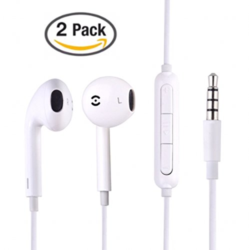 Tiehnom [2 Pack] Premium Earphones / Headphones / Earbuds with Microphone & Volume Control for iPhone, iPad, iPod, Android Smartphones, Samsung, Sony, Laptop, Music Players With 2 Headset Clips