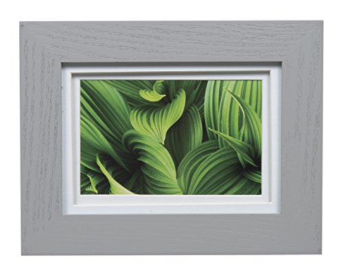 Gallery Solutions Photo 5x7 Flat Grey Tabletop or Wall Frame with Double White Mat for 4x6 Picture, 5 x 7, Gray