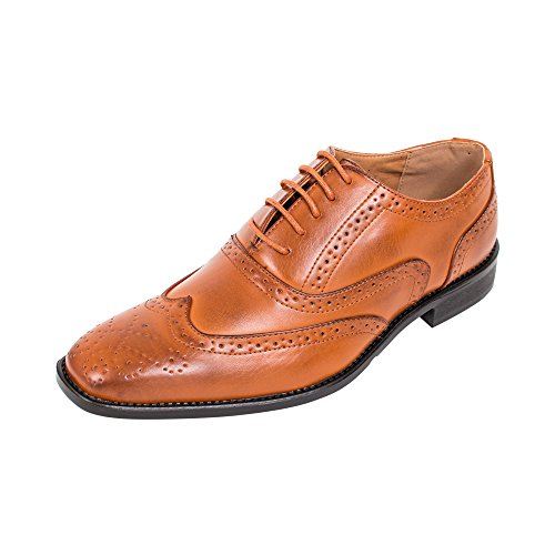 Beverly St Mens Finskor Snörning Brogue Medaljong Vinge Tip Oxford (tan)