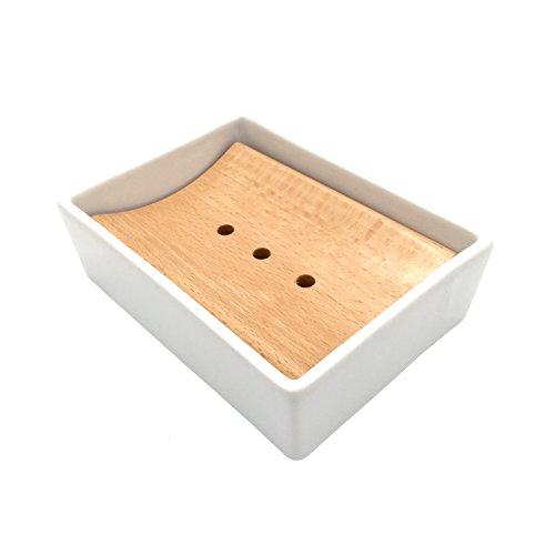 Lofekea Ceramic Soap Dish Wooden Soap Holder for Bathroom and Shower Double Layer Draining Soap Box