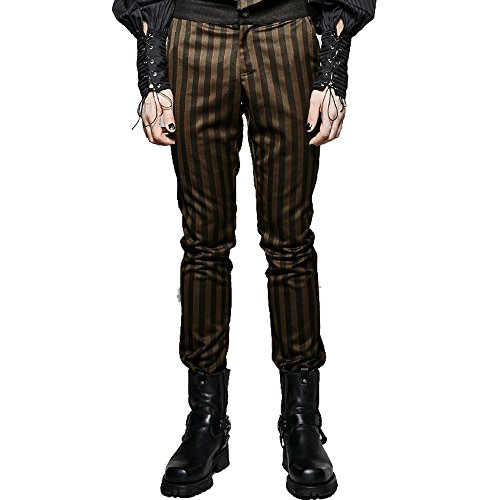 Steam Punk Men Dress Pants Gothic High Grade Suit Woven Rugged Striped Party Pants (Steampunk Pants Mens)
