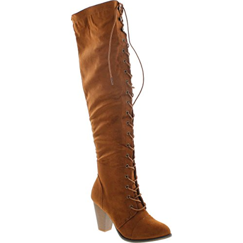 - Forever Camila-47 Women's Chunky Heel Lace Up Over The Knee Brown High Riding Boots,Tan Suede,7