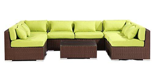 Kardiel  Espresso Wicker Outdoor Garden Furniture Modern Sofa Sectional Modify-It Aloha Oahu 9 Piece Set, Lime Green