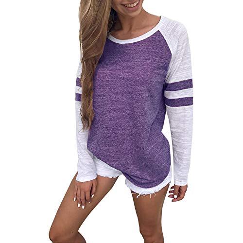 POQOQ Tops T Shirt Women Fashion Ladies Long Sleeve Splice Blouse Clothes L Purple