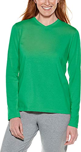 Coolibar UPF 50+ Women's Everyday V-Neck T-Shirt - Sun Protective (Small- Vibrant Green)