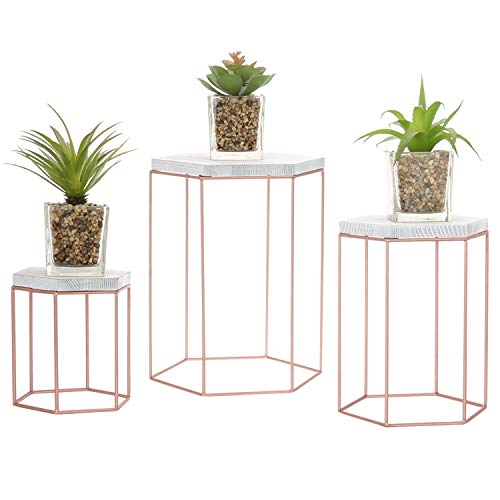 MyGift Geometric Vintage Rose Gold-Tone Metal Display Riser Stands, Set of 3