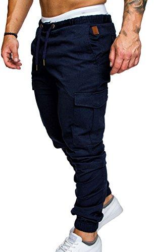 Cordon Couleur Long De Coton Travail Jogging Pantalons Avec Homme Serré Multi Slim Pantalon Unie Sport Snone Poche Cargo Fit XqCZaFH