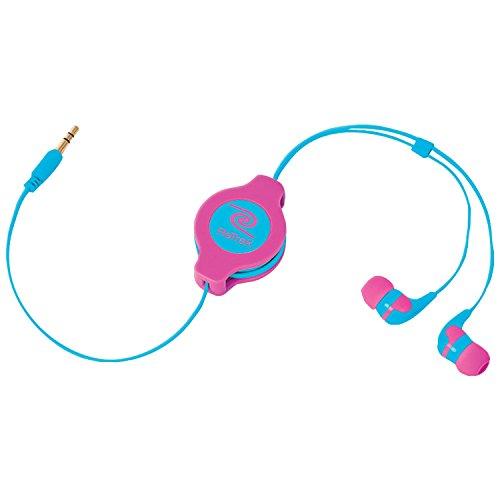 ReTrak Retractable Stereo Earbuds, Neon Pink/Blue (ETAUDNPKBU)