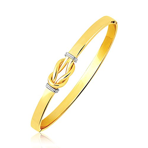 Hidden 14k Gold Clasp (14K Two-Tone Gold Bangle(5.0mm) with Intertwined Knot Slip - Hidden Safety Clasp)