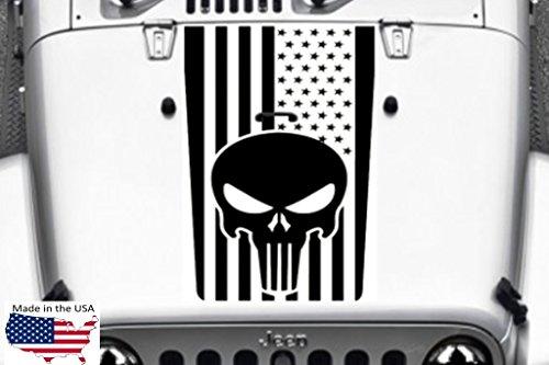 - Clausen's World Punisher Skull USA Flag Hood Vinyl Decal 21x37 Inches (Fits Jeep Wrangler) Black Matte