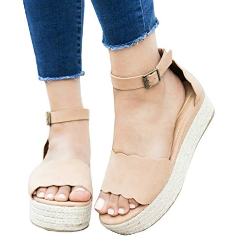 (LAICIGO Women's Scalloped Edged Espadrille Platforms Ankle Buckle Open Toe Dress D'Orsay Shoes)