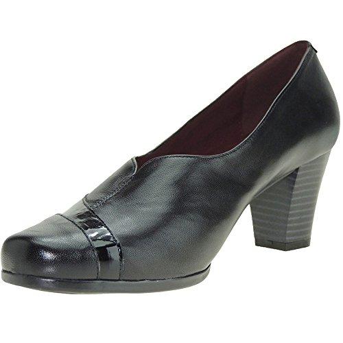 De Piel Seva Con 6cm Para 3822 Tacón Negro Zapato Modelo Mujer Vestir RZawZE