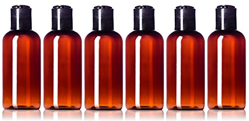 4 oz Empty Amber Plastic Boston Round Squeeze Bottles with Disc Top Flip Cap (6 pack); BPA-Free Containers For Shampoo, Lotions, Liquid Body Soap, Creams (4 ounce, - Round Bottles Pet Plastic Boston