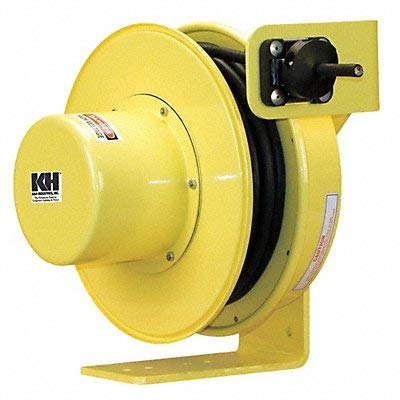 (KH Industries RTF Series ReelTuff Industrial Grade Retractable Power Cord Reel, 10/4 SOOW Cable, 20 Amp, 50' Length, Yellow Powder Coat Finish)