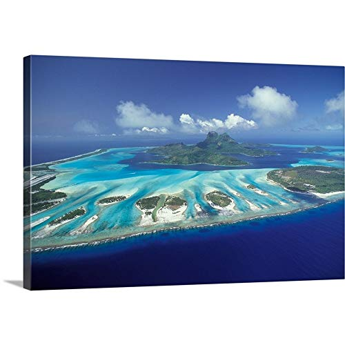 GREATBIGCANVAS Gallery-Wrapped Canvas Entitled South Pacific, French Polynesia, Bora Bora, Aerial Landscape by Art Wolfe 36