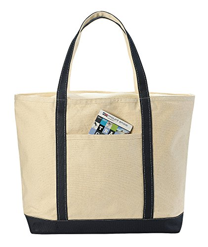 Canvas Tote Beach Bag - These Large Bags Are Strong Enough to Carry Beach Gear and Wet Towels. Front Pocket, Zippered Top Closure and Shoulder Straps for Easy Carrying. (Navy Blue | 22 x 16 Inches)