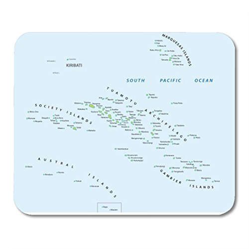 (Boszina Mouse pad Marquesas Tahiti French Polynesia Map Society Pacific Office Supplies mouses pad 9.5x7.9 Inches Mousepad)