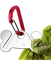 Dog Poop Bag Holder for Leash, Durable Hand Free Holder Metal Carrier, Hand Free Bag Carrier for Holding Poop Bag, Waste Bag Knot for Waste Bag Dispenser, Leash Attachment, Red