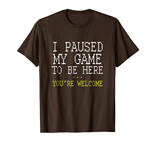 Mens I Paused My Game You're Welcome Funny Geek Gamer T-Shirt Large Brown from Gaming Shirts for Geeks