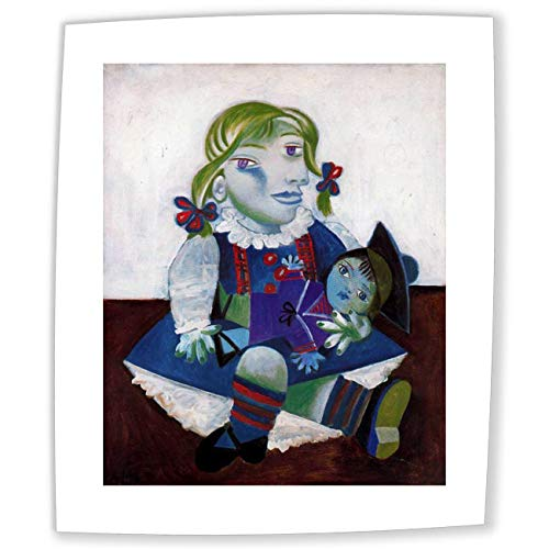 Neron Art Pablo Picasso Maya With Her Doll, 1938 - Original Abstract Canvas Paintings Hand Painted Reproduction Rolled - 75X90 cm (approx. 30X36 inch) for Wall (Masterpiece Doll Eyes)