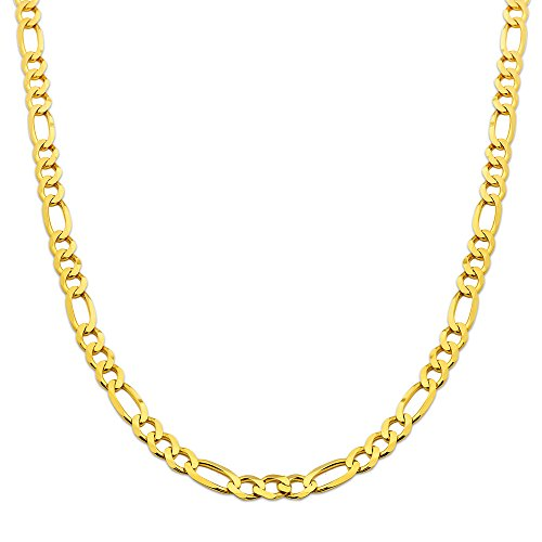 (10K Yellow Gold 6.5mm Solid Figaro Chain Necklace (22 inches))