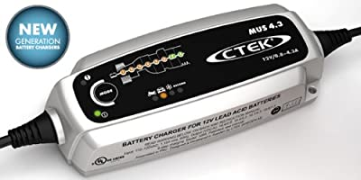 CTEK 93-56-864 MUS 4.3 Black 12V Battery Charger and CTEK 93-56-382 Black Comfort Indicator Eyelet Bundle