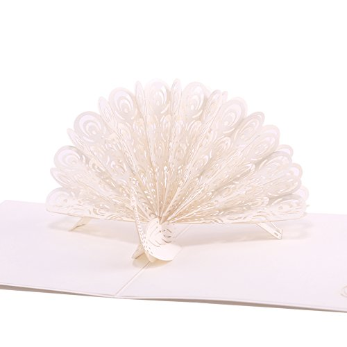 Paper Spiritz White Peacock, Pop up Cards Birthday, Anniversary Thank You Card for Husband Daughter Wife, Handmade Graduation Sympathy Blank Card, Laser Cut Gift Card with Envelopes all Occasions -