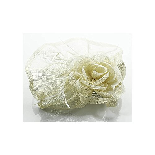 LeahWard mode Designer Blumendruck Feather Fascinator On Comb / Headband / Clip Hat Horse Racing Hochzeit Party Hen Party CWH00208 CWHA003 CWHA005 (CWH0081-Ivory Mit Comb)