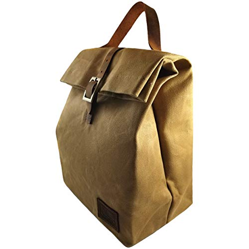 (Waxed Canvas Lunch Bag (Brown) - Thermal Insulated | Waterproof | Eco Friendly Stain Resistant Durable Tote Bag)