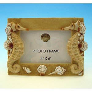 Seahorse Designed 4 X 6 Horizontal Table Top Sand and Shell Beach Photo Frame