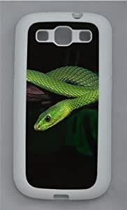 2014 Green Snake Desktop TPU Silicone Rubber Case Cover for Samsung Galaxy S3 SIII I9300 White