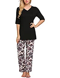 Womens Pajamas Set Plus Size Floral Leaves Print PJS Pants Sleepwear