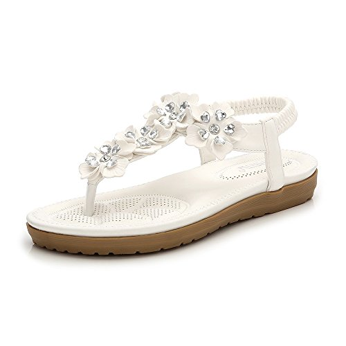 Wollanlily Women Bohemian Thong Sandal T-Strap Elastic Back Beach Flip Flops Sandals White-03 US 9.5